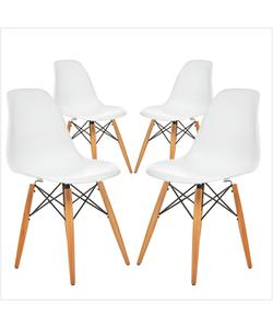 avta eames natural ahşap ayaklı 4'lü sandalye beyaz img