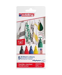 edding 4500 kumaş boyama kalemi 5'li kutu temel renkler img