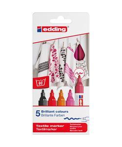 edding 4500 kumaş boyama kalemi 5'li kutu sıcak renkler img