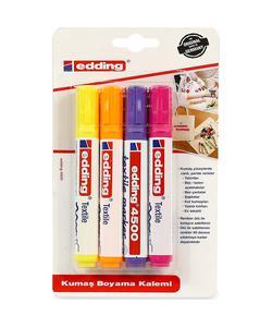 edding 4500 tekstil kalemi 4'lü karışık renkler img