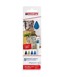 edding 4600 kumaş boyama kalemi 5'li kutu soğuk renkler img
