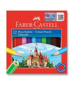 faber castell karton kutu boya kalemi 12 renk yarım boy img