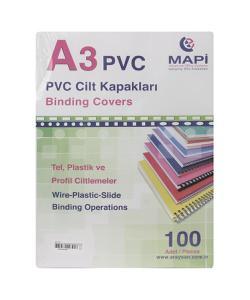 mapi a3 pvc şeffaf opak cilt kapağı 160 mic. 100'lü paket img