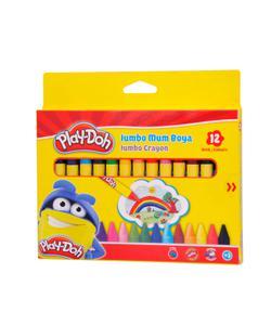 play-doh karton kutu silinebilir jumbo crayon (mum) boya 12 renk play-cr005 img