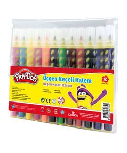 play-doh renkli üçgen fırça uçlu kalem 12'li img